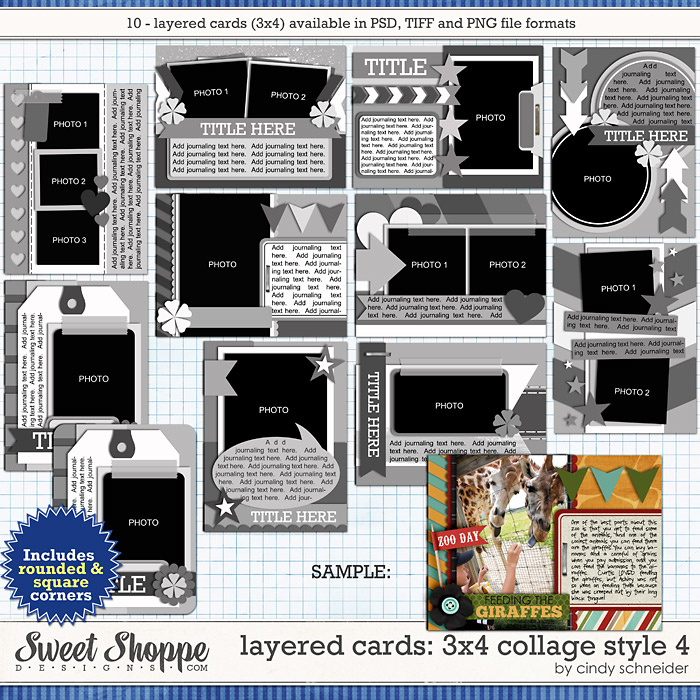 Cindy's Layered Cards: 3x4 Collage Style 4 by Cindy Schneider