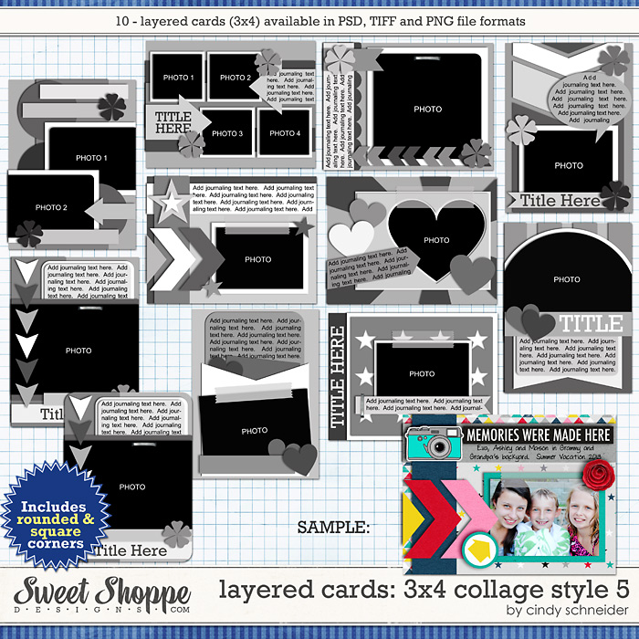Cindy's Layered Cards: 3x4 Collage Style 5 by Cindy Schneider