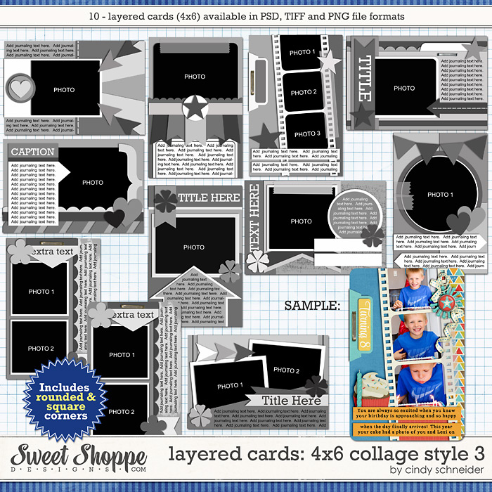 Cindy's Layered Cards: 4x6 Collage Style 3 by Cindy Schneider