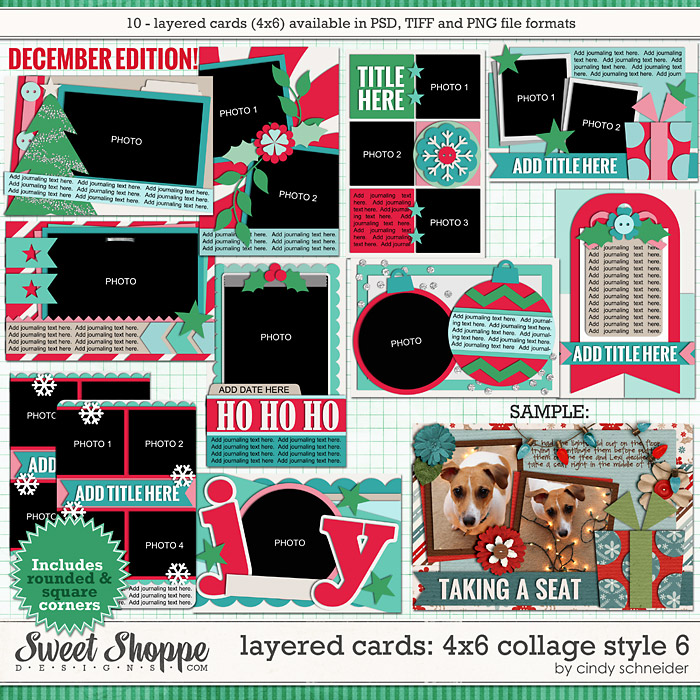 Cindy's Layered Cards: 4x6 Collage Style 6 - December Edition by Cindy Schneider