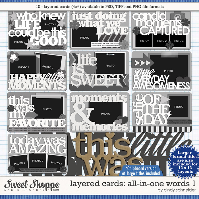 Cindy's Layered Cards: All in One Words 1 by Cindy Schneider