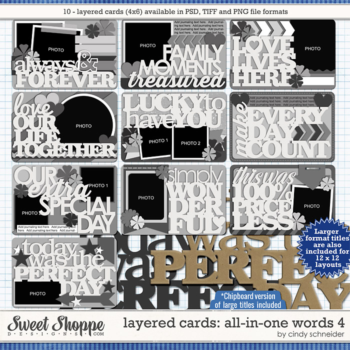 Cindy's Layered Cards: All in One Words 4 by Cindy Schneider
