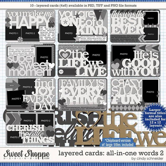 Cindy's Layered Cards: All in One Words 2 by Cindy Schneider