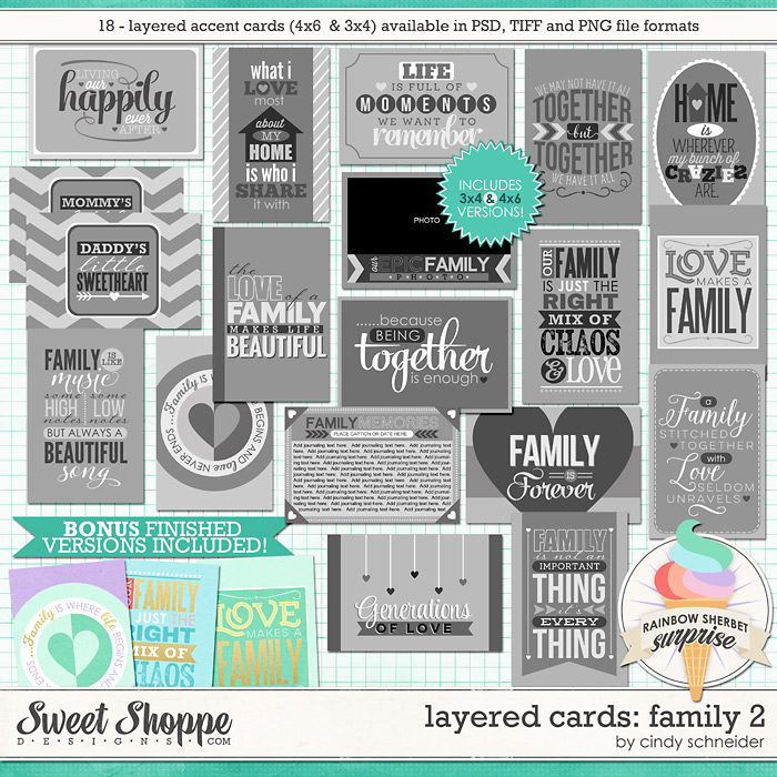 Cindy's Layered Cards: Family - Set 2 by Cindy Schneider