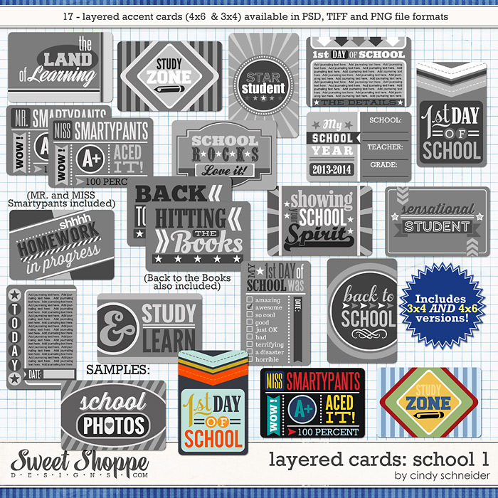 Cindy's Layered Cards: School 1 by Cindy Schneider