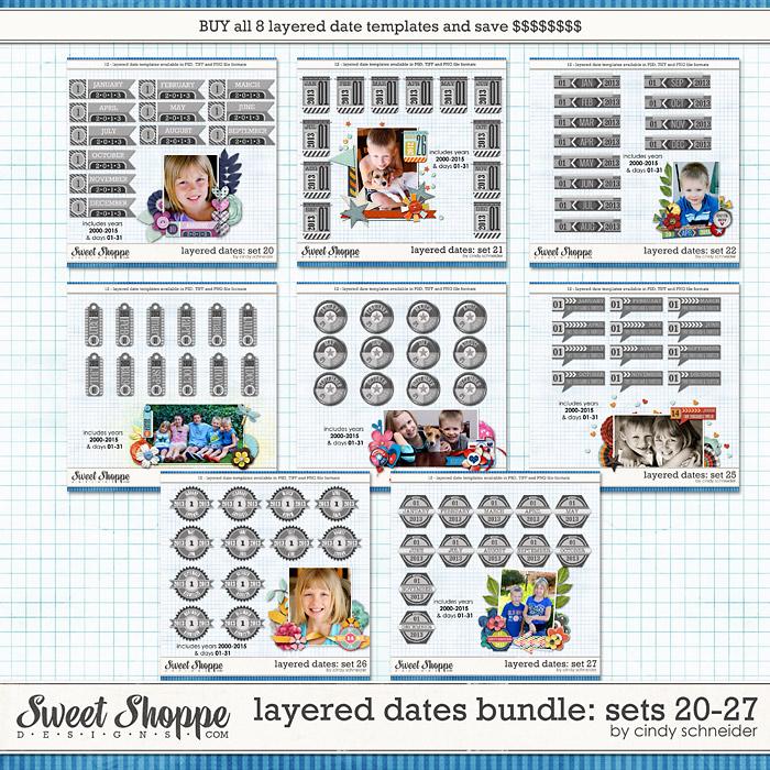 Cindy's Layered Dates Bundle: Sets 20-27 by Cindy Schneider