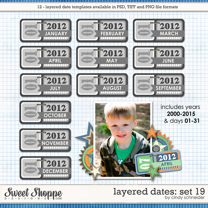 Cindy's Layered Dates: Set 19 by Cindy Schneider