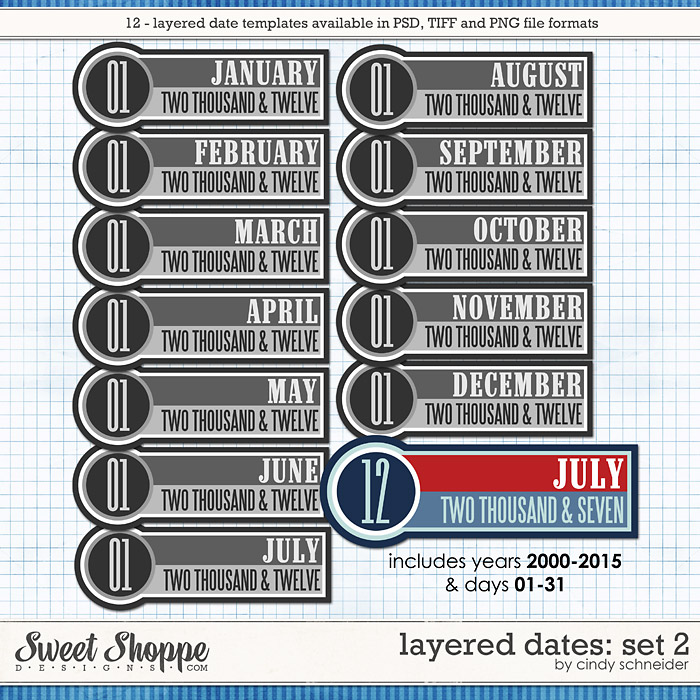 Cindy's Layered Dates: Set 2 by Cindy Schneider