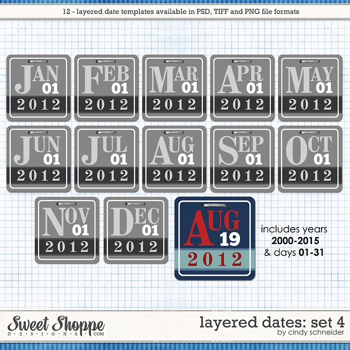 Cindy's Layered Dates: Set 4 by Cindy Schneider
