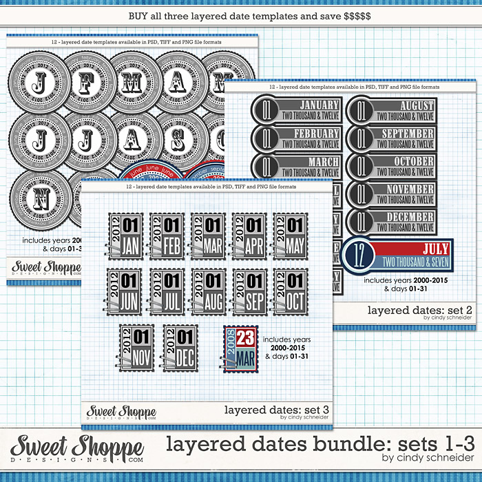 Cindy's Layered Dates Bundle: Sets 1-3 by Cindy Schneider