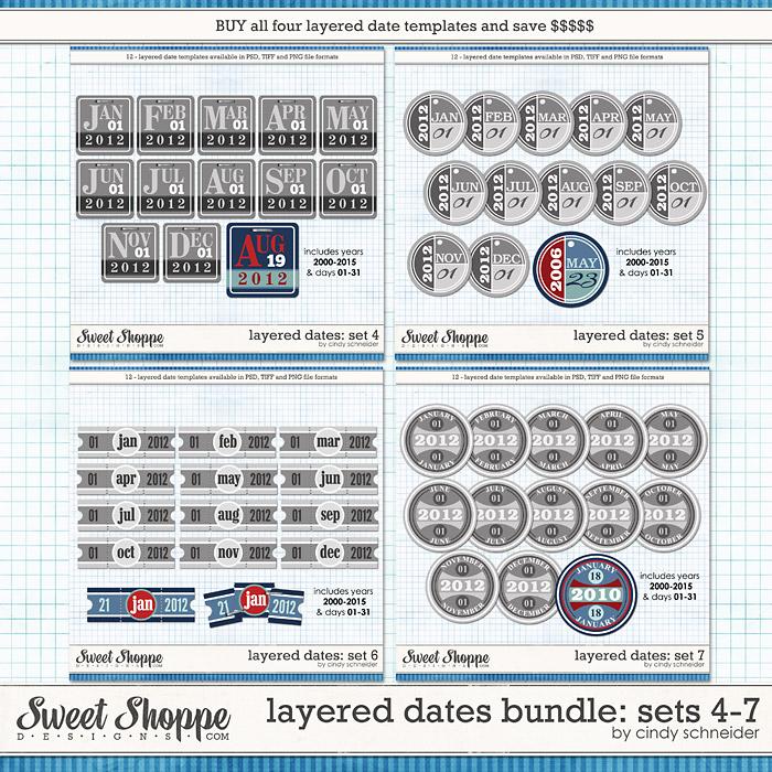 Cindy's Layered Dates Bundle: Sets 4-7 by Cindy Schneider
