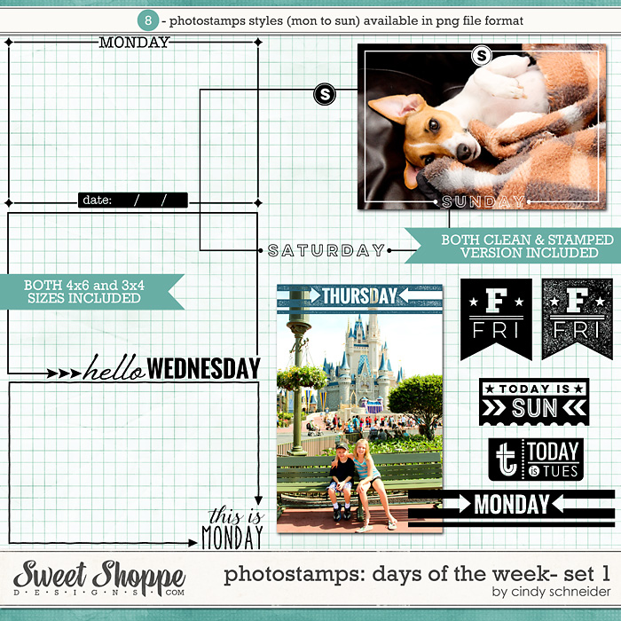 Cindy's Photostamps: Days of the Week - Set 1 by Cindy Schneider