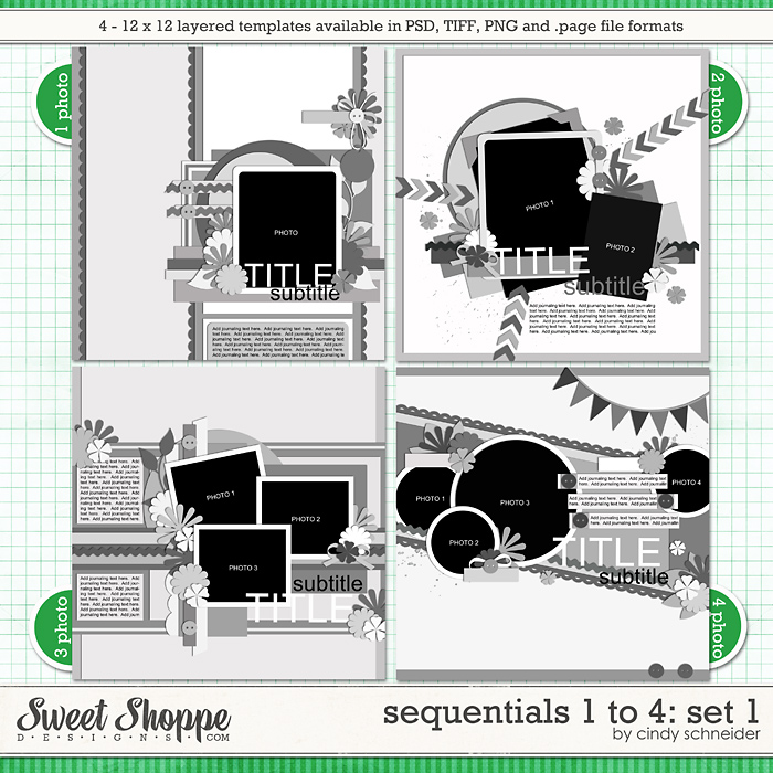 Cindy's Templates - Sequentials 1 to 4: Set 1 by Cindy Schneider