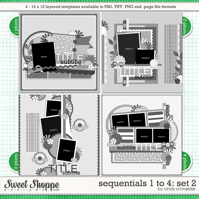 Cindy's Templates - Sequentials 1 to 4: Set 2 by Cindy Schneider