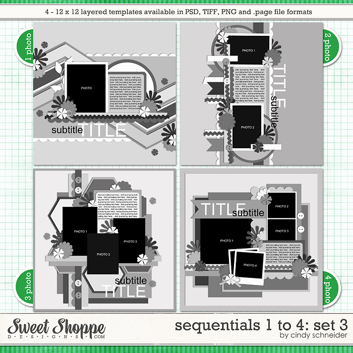 Cindy's Templates - Sequentials 1 to 4: Set 3 by Cindy Schneider