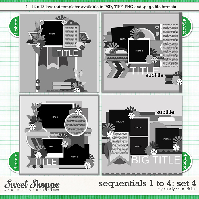 Cindy's Templates - Sequentials 1 to 4: Set 4 by Cindy Schneider