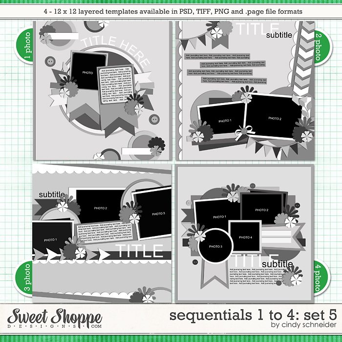 Cindy's Templates - Sequentials 1 to 4: Set 5 by Cindy Schneider