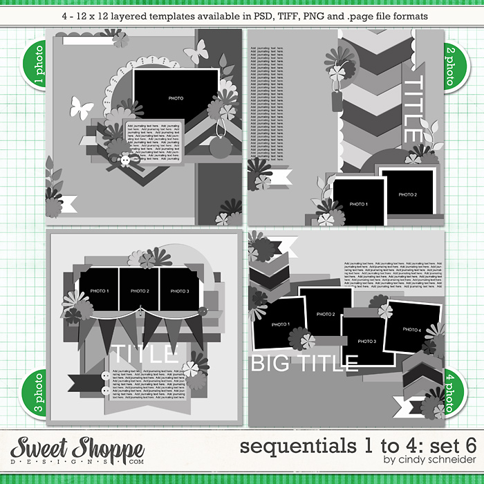 Cindy's Templates - Sequentials 1 to 4: Set 6 by Cindy Schneider