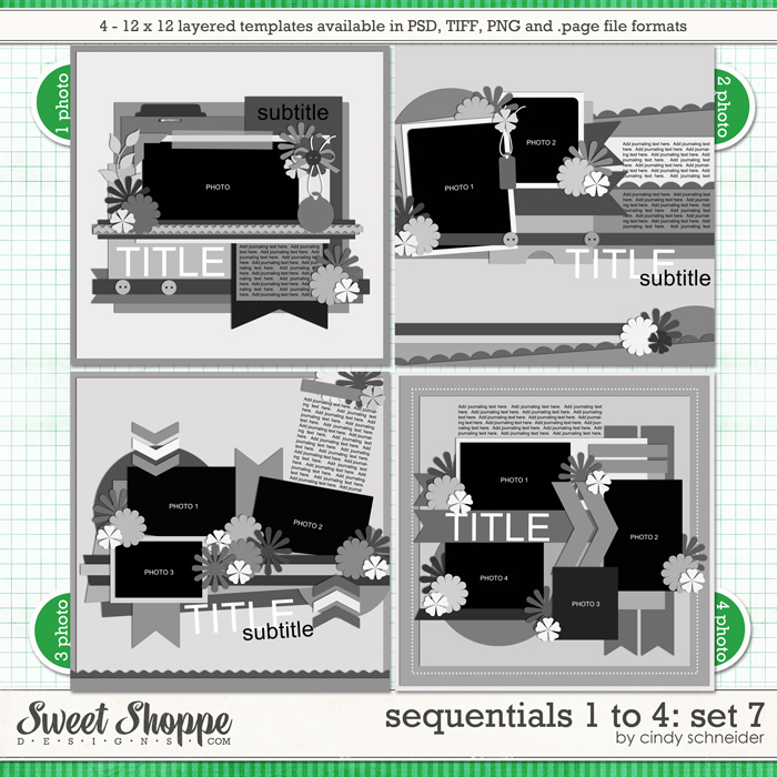 Cindy's Templates - Sequentials 1 to 4: Set 7 by Cindy Schneider