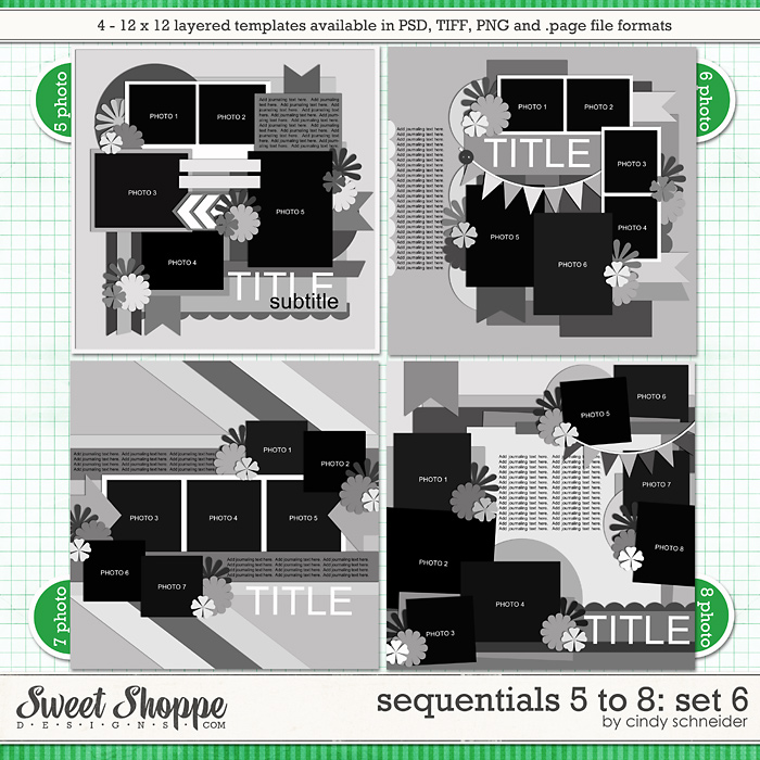 Cindy's Templates - Sequentials 5 to 8: Set 6 by Cindy Schneider