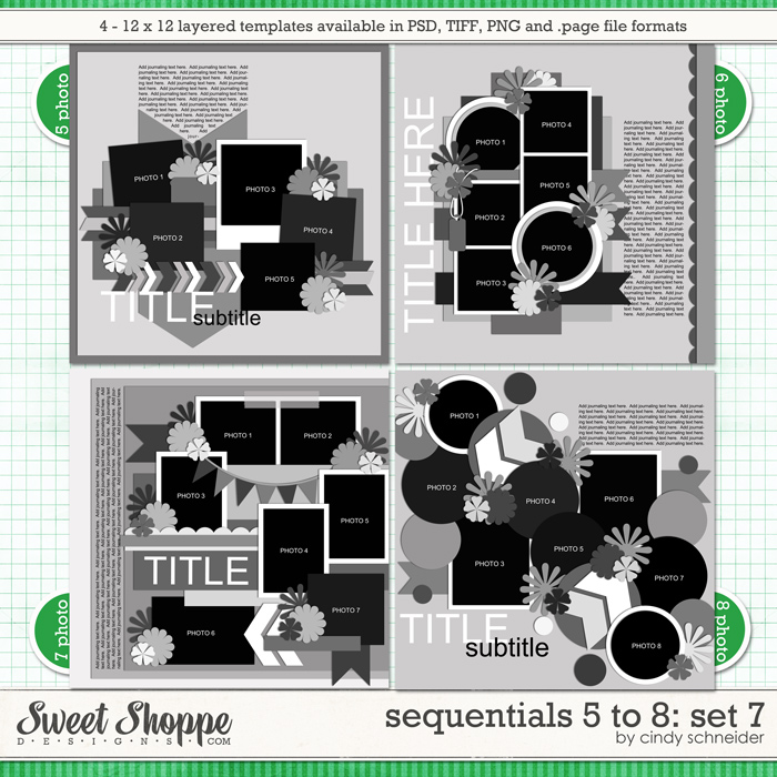 Cindy's Templates - Sequentials 5 to 8: Set 7 by Cindy Schneider