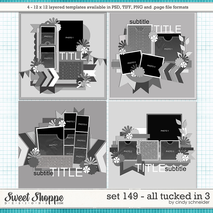 Cindy's Layered Templates - Set 149: All Tucked In 3 by Cindy Schneider