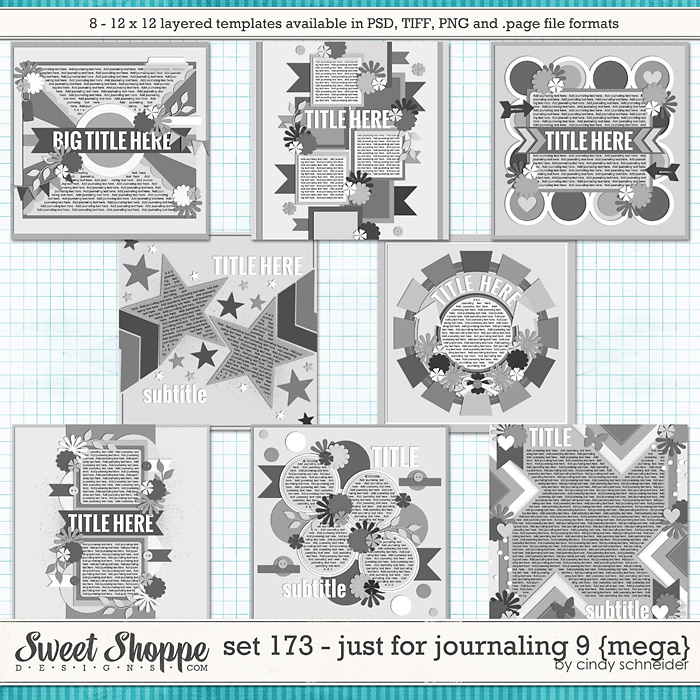 Cindy's Layered Templates - Set 173: Just for Journaling 9 {mega} by Cindy Schneider