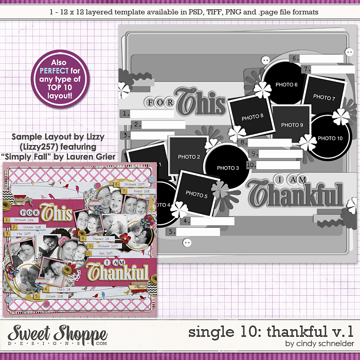 Cindy's Layered Templates - Single #10: Thankful V1 by Cindy Schneider