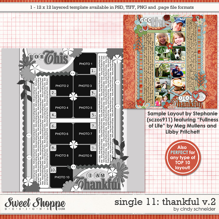 Cindy's Layered Templates - Single #11: Thankful V2 by Cindy Schneider