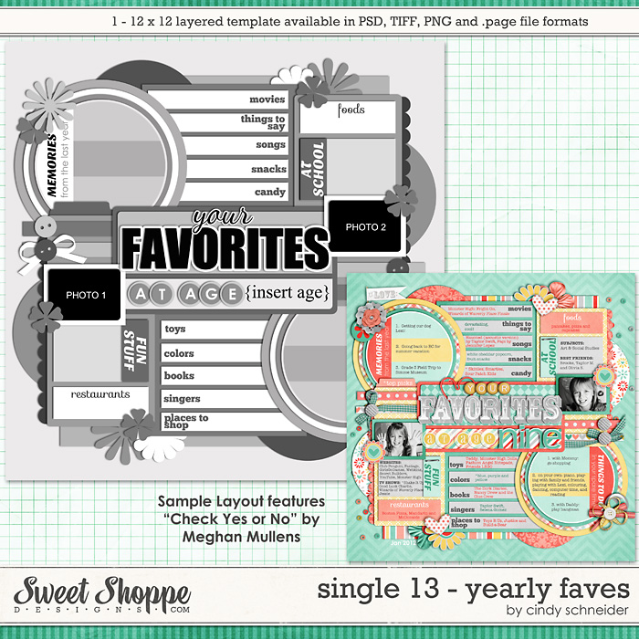 Cindy's Layered Templates - Single #13: Yearly Faves by Cindy Schneider