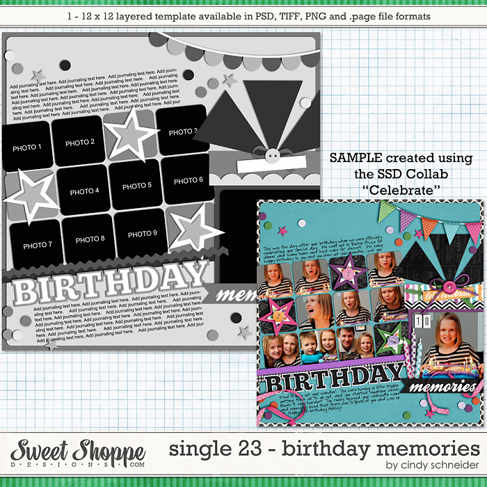 Cindy's Layered Templates - Single 23: Birthday Memories by Cindy Schneider