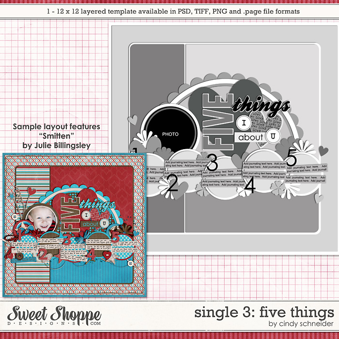 Cindy's Layered Templates - Single #3 Five Things by Cindy Schneider