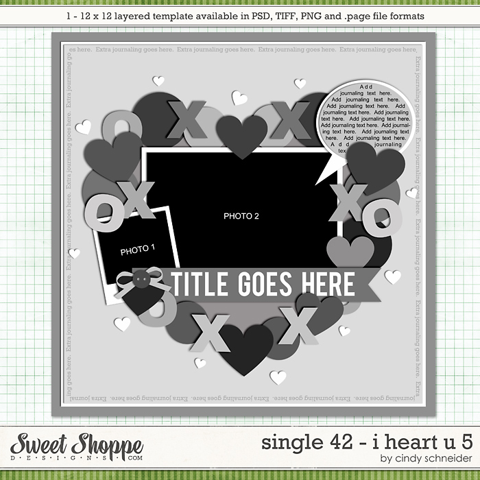Cindy's Layered Templates - Single 42 : I Heart U 5 by Cindy Schneider