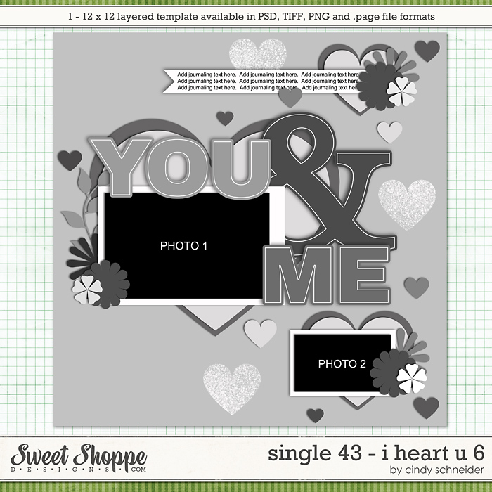 Cindy's Layered Templates - Single 43 : I Heart U 6 by Cindy Schneider