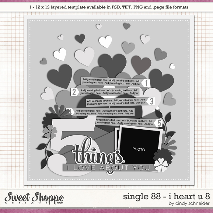 Cindy's Layered Templates - Single 88: I Heart U 8 by Cindy Schneider