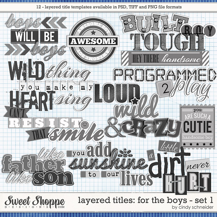 Cindy's Layered Titles: For the Boys - Set 1 by Cindy Schneider