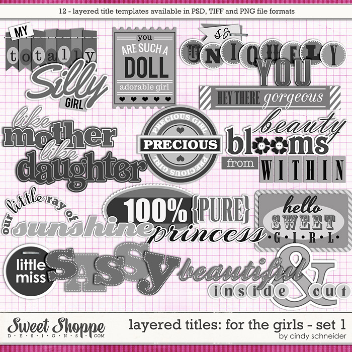 Cindy's Layered Titles: For the Girls - Set 1 by Cindy Schneider