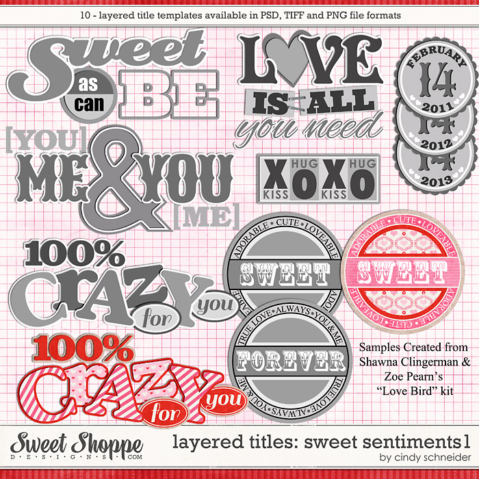 Cindy's Layered Titles - Sweet Sentiments #1 by Cindy Schneider