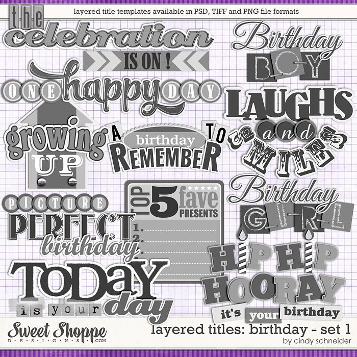Cindy's Layered Titles: Birthday Set 1 by Cindy Schneider