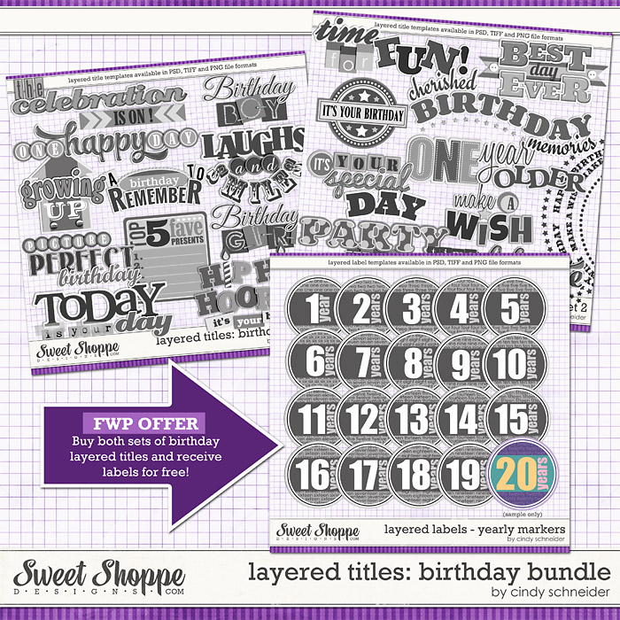 Cindy's Layered Titles: Birthday Bundle by Cindy Schneider