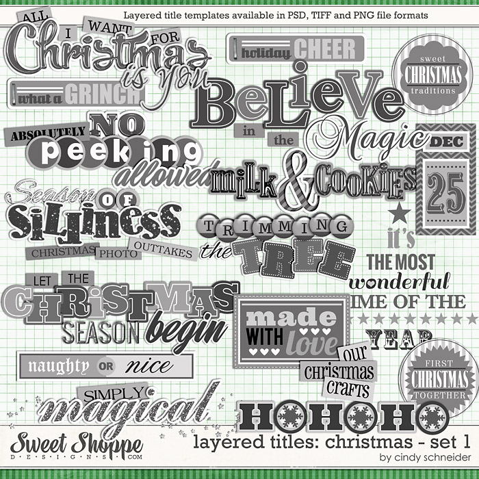 Cindy's Layered Titles: Christmas - Set 1 by Cindy Schneider
