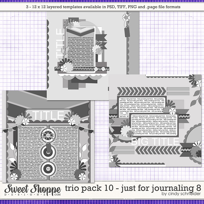 Cindy's Layered Templates: Trio Pack 10 - Just for Journaling 8 by Cindy Schneider