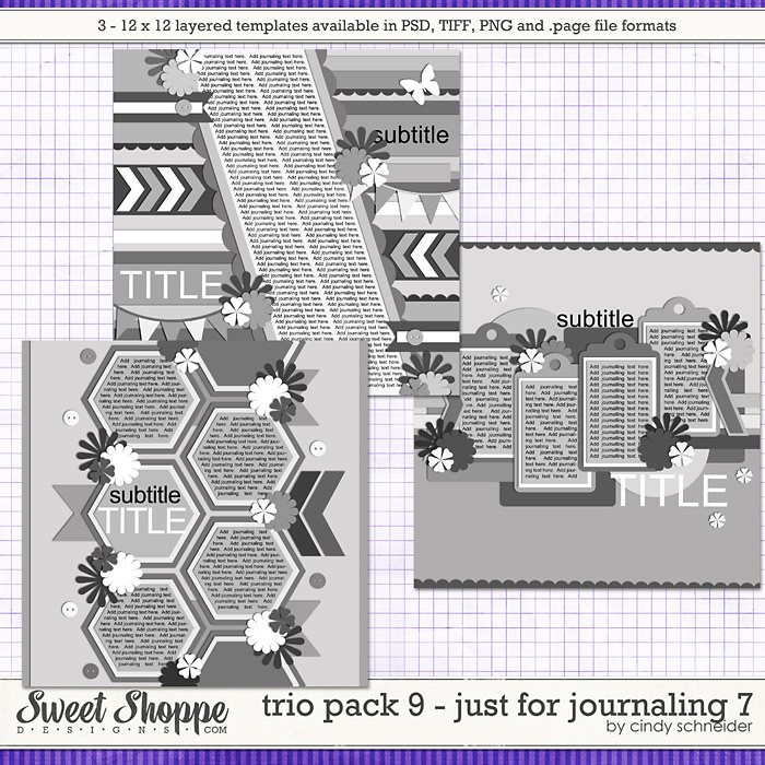 Cindy's Layered Templates: Trio Pack 9 - Just for Journaling 7 by Cindy Schneider