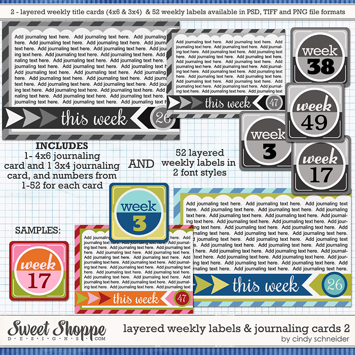 Cindy's Layered Weekly Labels and Journaling Cards 2 by Cindy Schneider