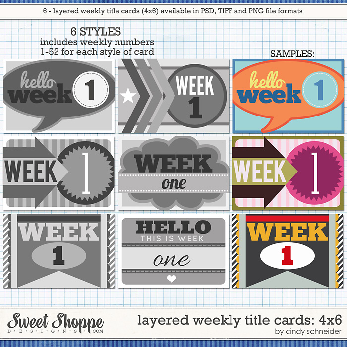 Cindy's Layered Weekly Title Cards - 4x6 by Cindy Schneider