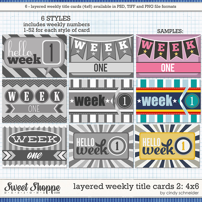 Cindy's Layered Weekly Title Cards 2 - 4x6 by Cindy Schneider
