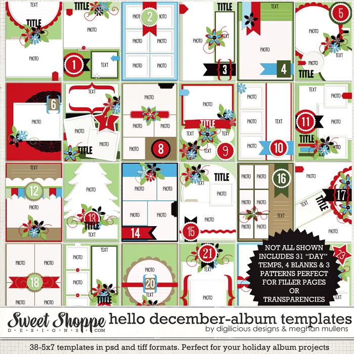 "Hello December 5"" x 7"" Album Templates by Digilicious Design & Meghan Mullens"