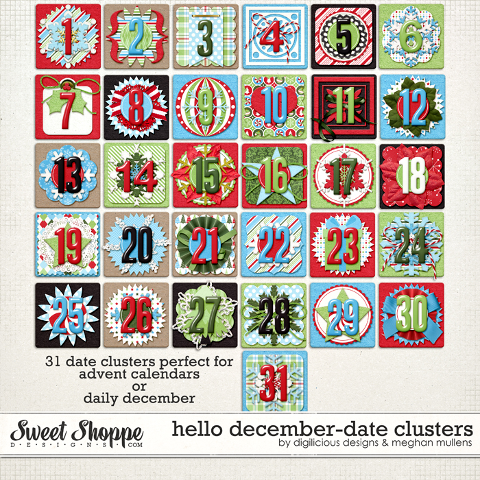 Hello December Date Clusters by Digilicious Design & Meghan Mullens