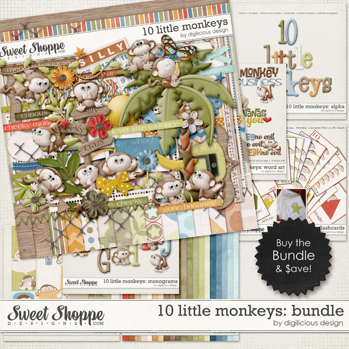 10 Little Monkeys Bundle by Digilicious Design