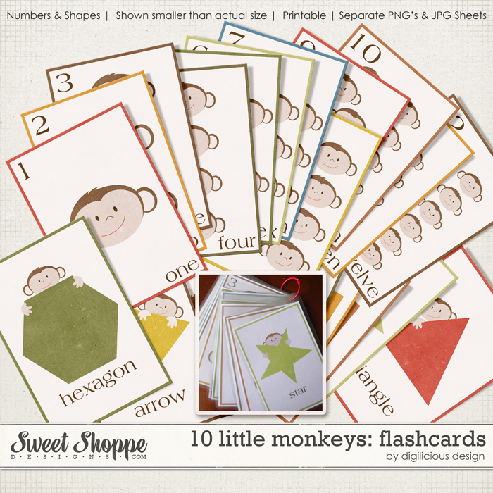 10 Little Monkeys Flash Cards by Digilicious Design